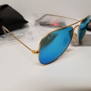 NEW! Ray Ban 3025 aviators blue mirrors 62mm